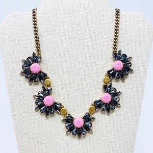 J CREW Crystal Statement Necklace Gray Pink